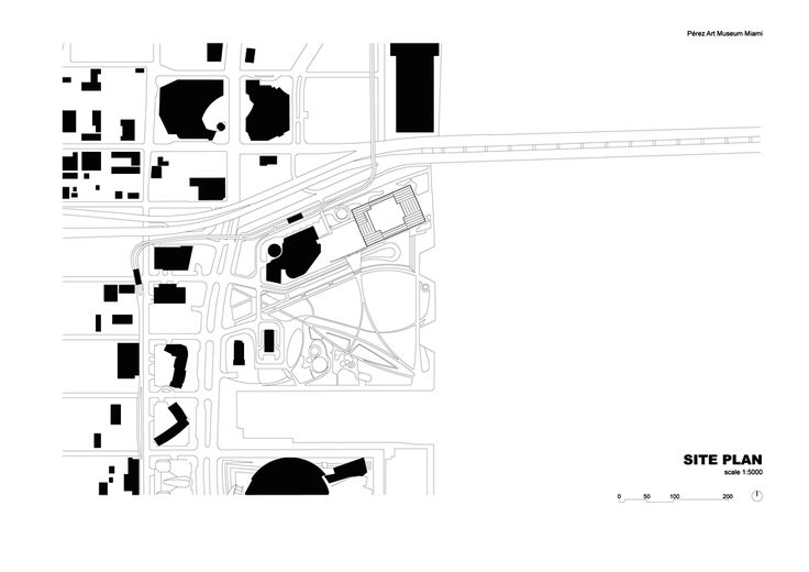 Site Plan. Perez Art Museum Miami. Image courtesy of Herzog & de Meuron. Click above to see larger image.