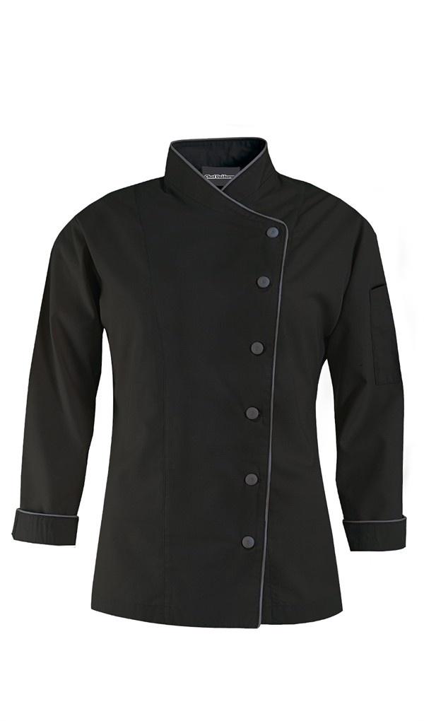 Women's Diagonal Closure Chef Coat - Long Sleeve - 65/35 Poly/Cotton $27.99 http://www.chefuniforms.com/chef-coats/womens-chef-coats/diagonal-closure-chef-coat.asp?frmcolor=blgst
