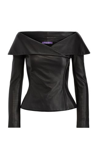 This **Ralph Lauren** Maxine Leather Zip Jacket features a slim fit with an off the shoulder silhouette and long, raglan sleeves.