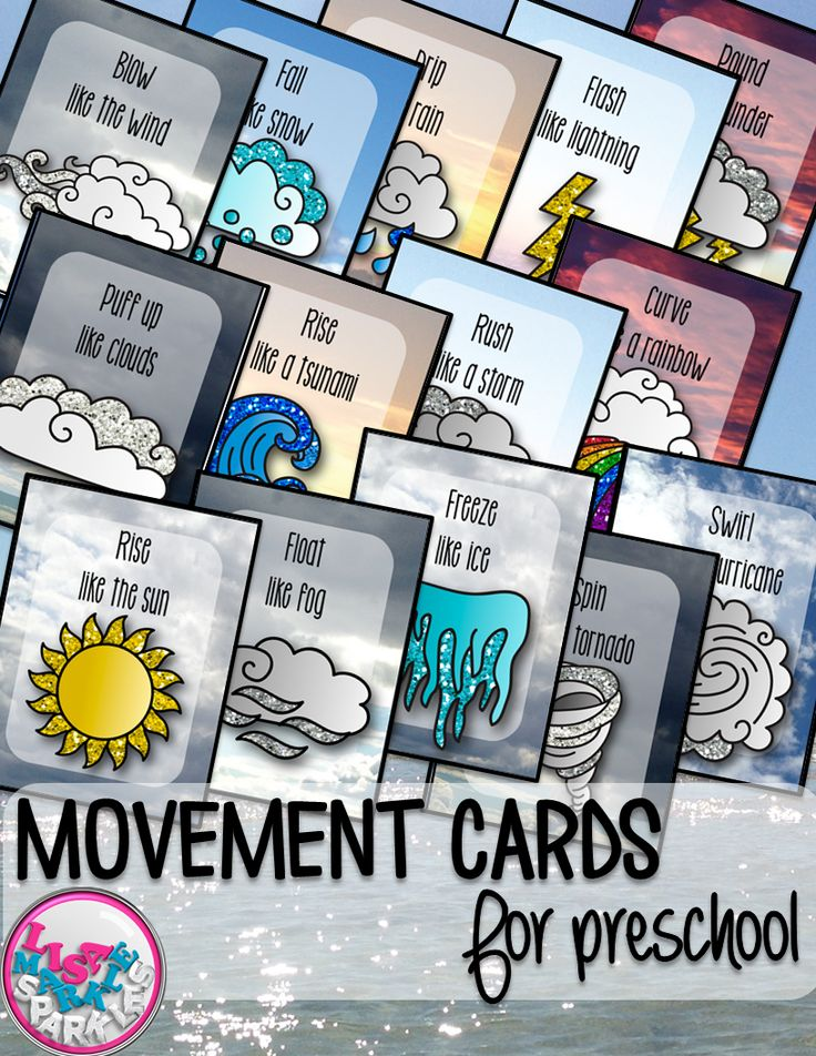 These weather themed movement cards will keep your students active while they're excited for the weather to warm up! Move like a cloud, wind, sun, tornado, lightning, and more! Keep those excited little ones busy indoors when it's too rainy to go outside! All while teaching them about different actions, types of weather and improving their gross motor skills! Print and cut these out, laminate them and keep them all together on a metal ring. Put on some music and let your kids dance!