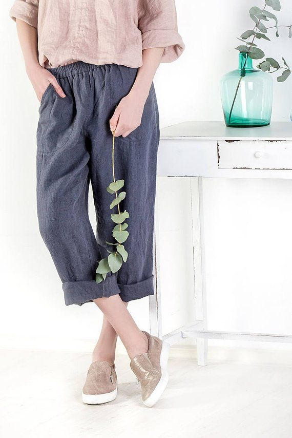 Natural Loose Linen Pants Washed Women Linen Trousers Loose Womens Trousers Linen Trousers Leisure Trousers