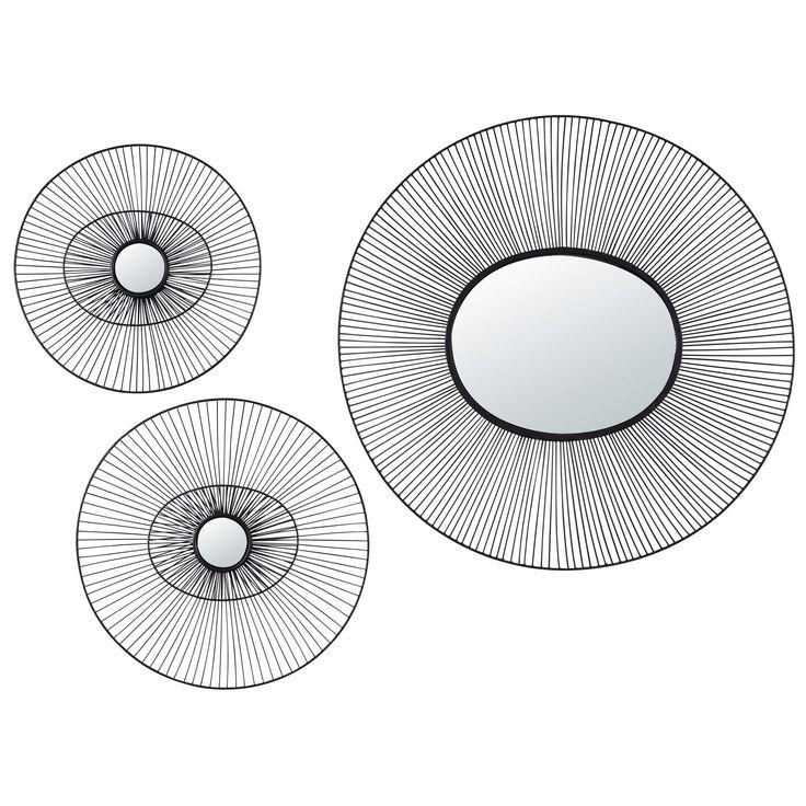 3 miroirs ronds en fil de métal noir ELEWA