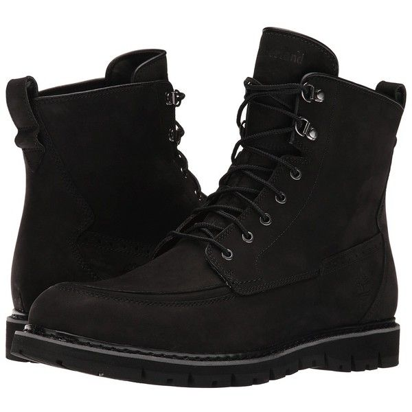 Timberland Britton Hill Waterproof Moc Toe Boot (Black Nubuck) Men's... ($200) ❤ liked on Polyvore featuring men's fashion, men's shoes, men's boots, men's work boots, shoes, men, boots, mens black boots, mens black tie and mens boots