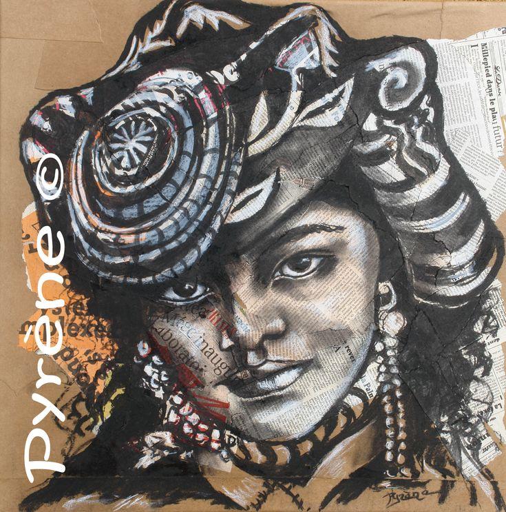 """https://vimeo.com/107303737                                                """"Tibétaine"""" Fusain sur papier marouflé sur toile 60x60 cm     http://www.artmajeur.com/helene-py/     http://wizzz.telerama.fr/azurwizzz     https://www.facebook.com/pages/H%C3%A9l%C3%A8ne-Py/483215725063037   &     http://helene-py-pyrene-peinture-ecriture.over-blog.com/"""