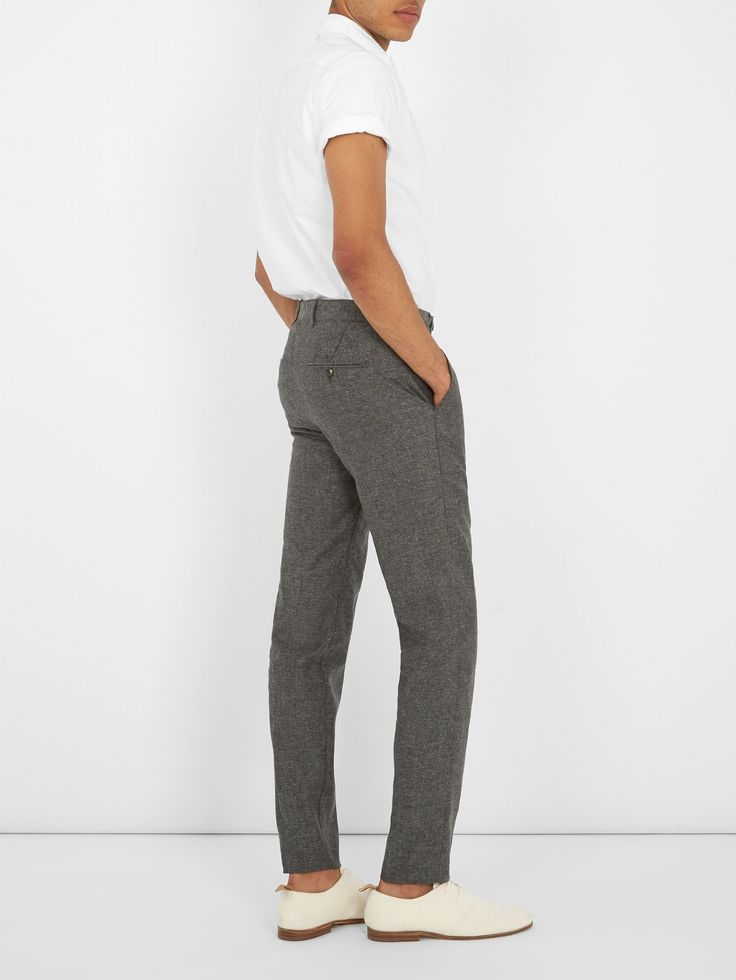 Boglioli Mid-rise slim-leg silk and linen-blend trousers at MATCHESFASHION.