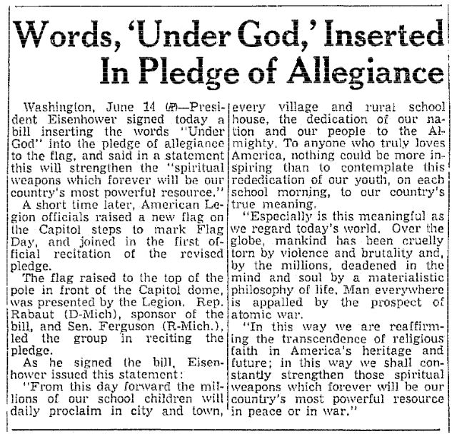 Under god in the pledge