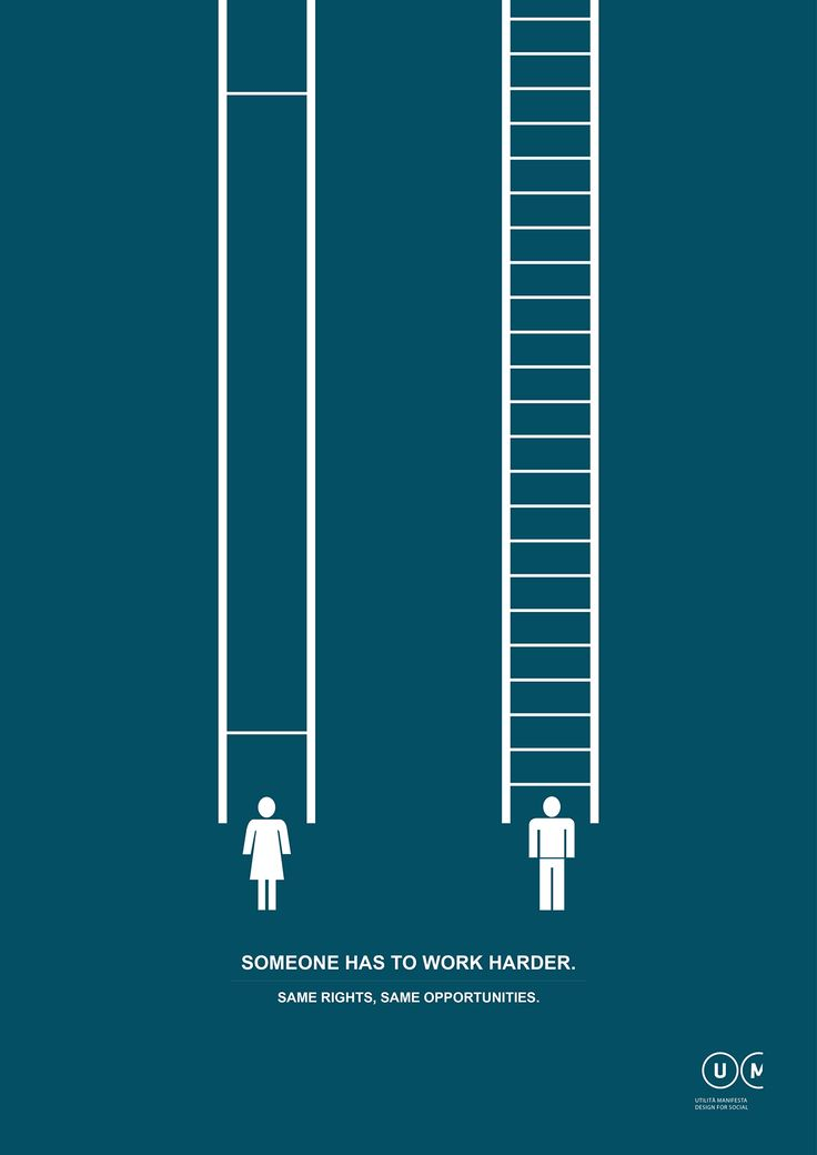 Manifesta Utilità - human rights on Behance.  This is a powerful poster that just shows that women always had to work harder to achieve their goals.