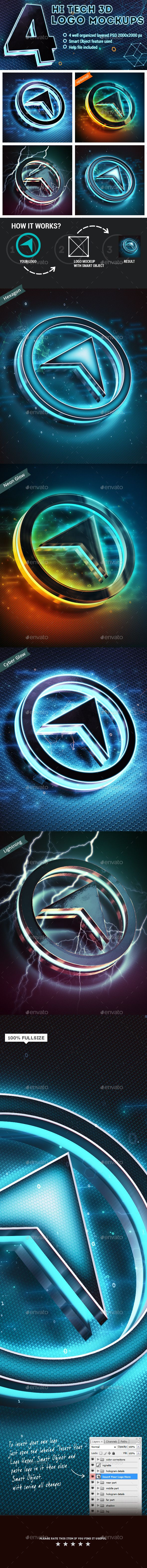 4 Hi-Tech 3D Logo Mockups  -  PSD Template • Download ➝ https://graphicriver.net/item/4-hitech-3d-logo-mockups/11969430?ref=pxcr