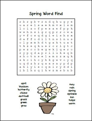 Classroom Freebies Too: Spring Word Find