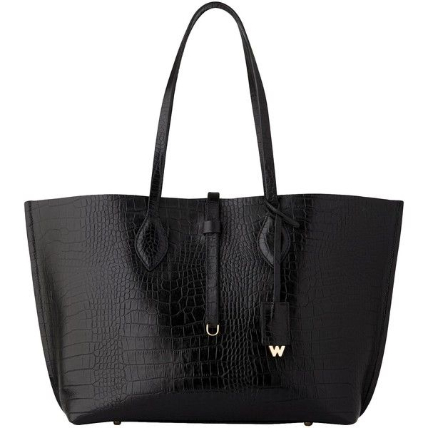 Whistles Regent Shiny Croc Tote Bag, Black (320 CAD) ❤ liked on Polyvore featuring bags, handbags, tote bags, faux leather tote, leather tote, faux leather tote bag, hand bags and leather handbags