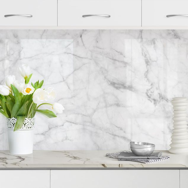 Rivestimento cucina - Marmo Bianco Carrara nel 2019 | Cucina ...