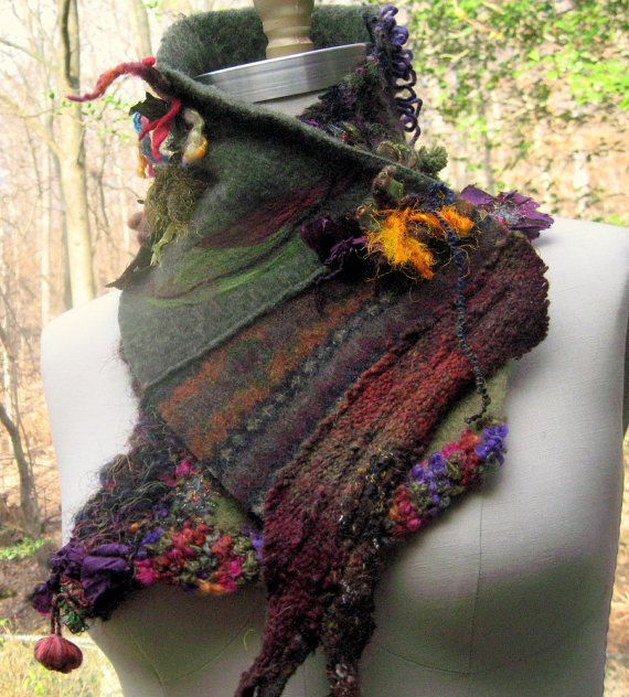 Cashmere wool patchwork SCARF / NECKWARMER / Wrap. Embellished with felted leaves, beading and chiffon.
