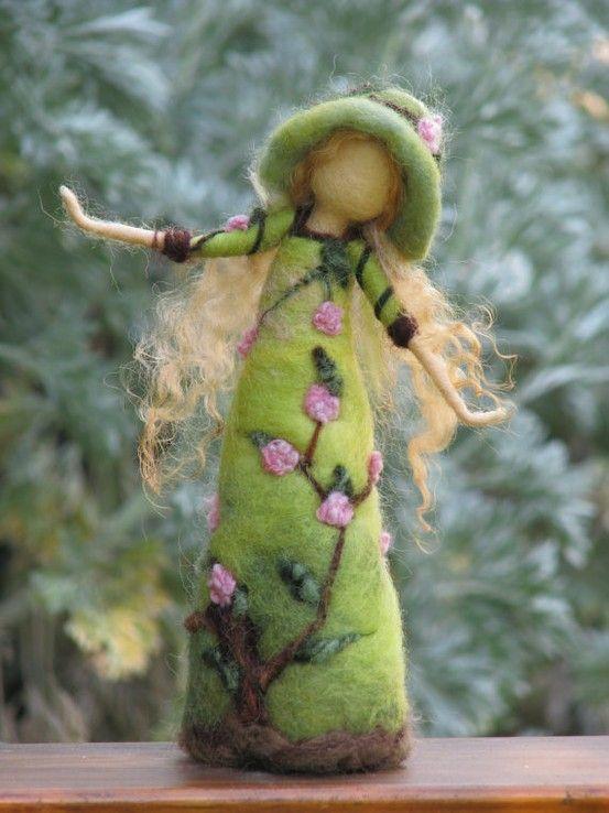 Waldorf inspired needle felted roses lady by Made4uByMagic on Etsy