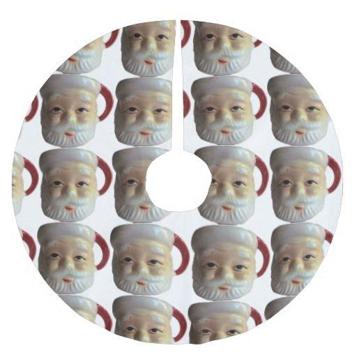 Vintage Santa Mug Christmas Tree Skirt (eyes open)--#retro #vintage #Christmas #holidays #decor #decorations #Santa #1960s #ChristmasTree #Zazzle #MidCentury