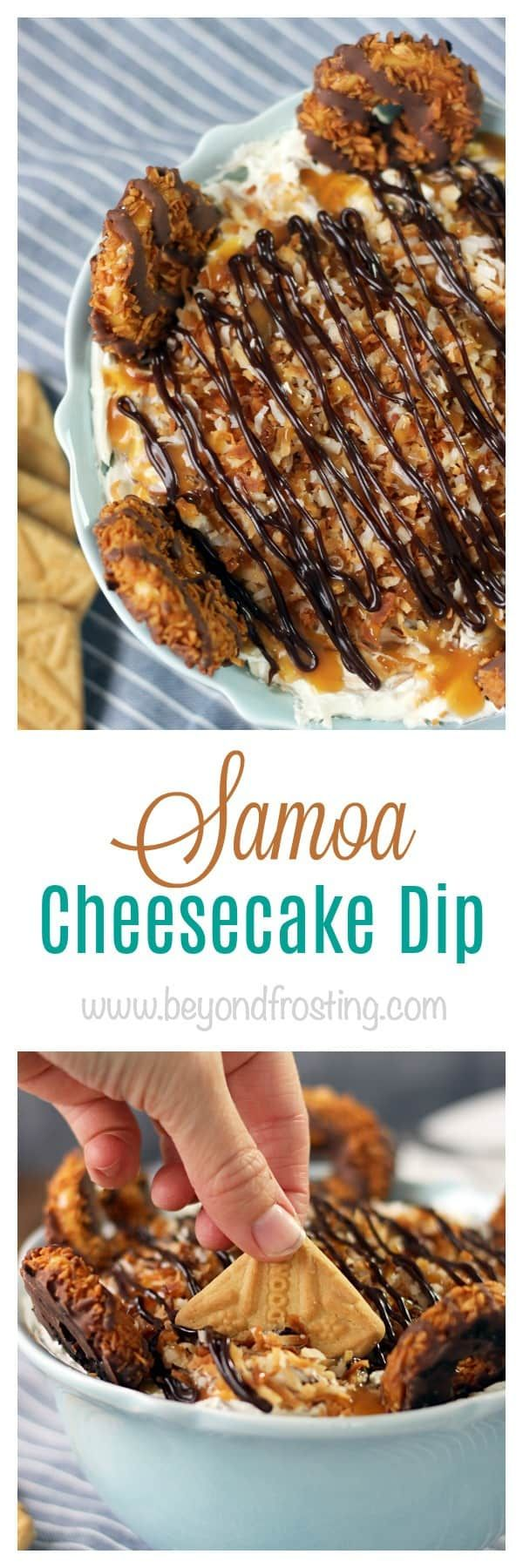 This Samoa Cheesecake is like a seven layer dip. It's got a caramel cheesecake filling layered with fudge sauce, toasted coconut and shortbread cookies.