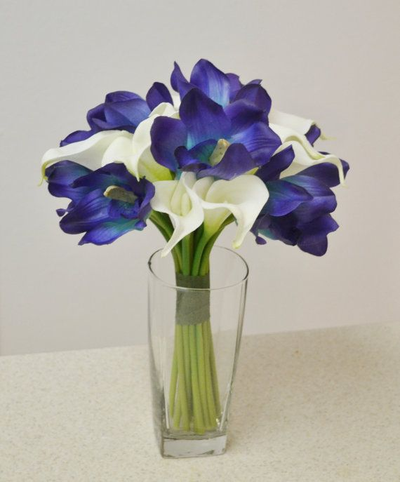 Blue Real Touch Bouquet - White Calla Lilies, Blue Cymbidium Orchids, Destination Wedding Bouquet, Tropical Wedding Bouquet, Blue Bouquet