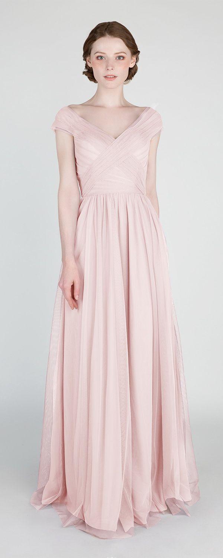 158cf61167b1 Elegant Long Off Shoulder Tulle Bridesmaid Dress TBQP420 in blush #wedding  #weddinginspiration #bridesmaids #bridesmaiddress #bridalparty #maidofhonor  ...