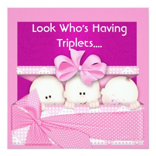 Triplets Girls Baby Shower Invitation Triplets Shower