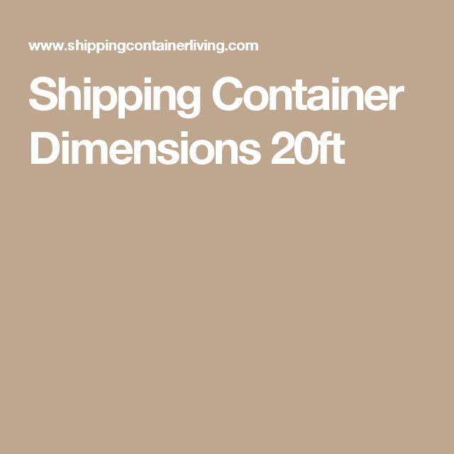 Shipping Container Dimensions 20ft