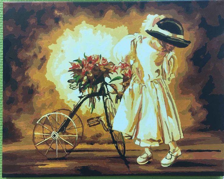 Картина по номерам «Девочка с велосипедом» - купить недорого в интернет-магазине Цветное в Москве с доставкой по России, пример готовой работы