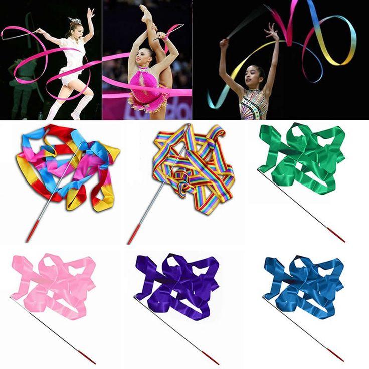 Vente chaude 4 M De Gymnastique Ruban Tige Gym Rythmique Art De Danse Twirling Ballet Streamer Bâton Bâton Bandes de Fitness Multicolore