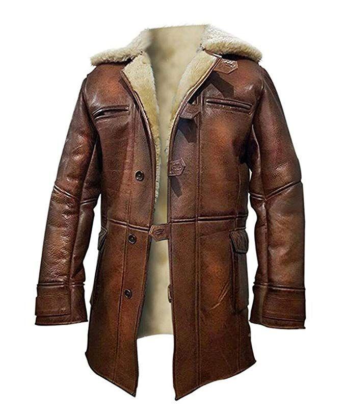 Mens /'BANE/' Dark Knight Rises Vintage Crocodile Distressed Leather Coat//Jacket