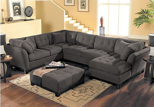 picture of Cindy Crawford Home   Metropolis Slate Right   4 Pc Sectional Living Room  from Living Room Sets  Furniture