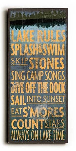 Lake Rules Wood Sign