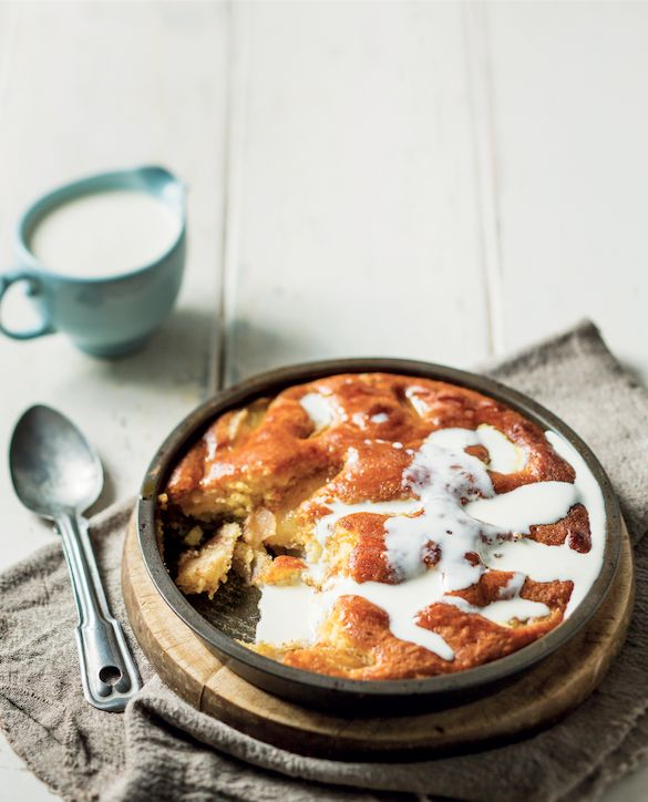 Baked apple and syrup sponge