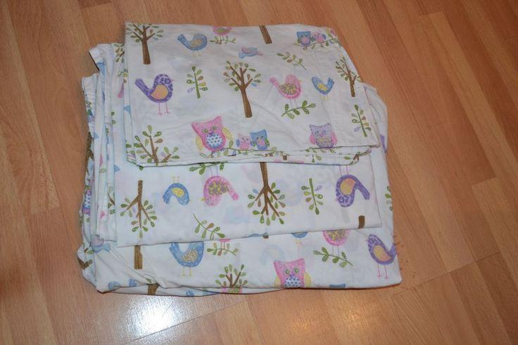 Pottery Barn Kids Hayley Bird Owl Twin Sheet Set Girls