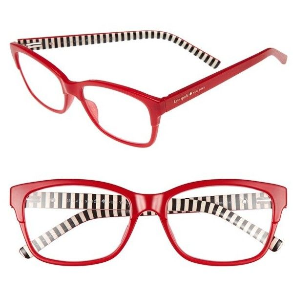 Women's Kate Spade New York 'Tenil' 52Mm Reading Glasses ($68) ❤ liked on Polyvore featuring accessories, eyewear, eyeglasses, milky red, red reading glasses, rectangular glasses, red eyeglasses, reading glasses and kate spade