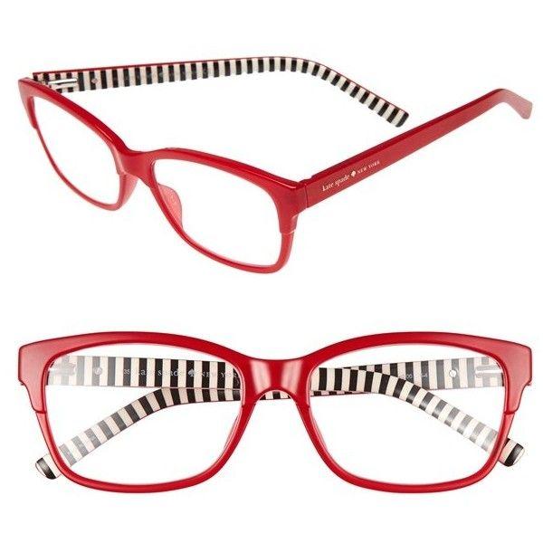 Women's Kate Spade New York 'Tenil' 52Mm Reading Glasses (1,270 MXN) ❤ liked on Polyvore featuring accessories, eyewear, eyeglasses, milky red, rectangular eyeglasses, reading glasses, rectangle eyeglasses, red eyeglasses and kate spade eye glasses