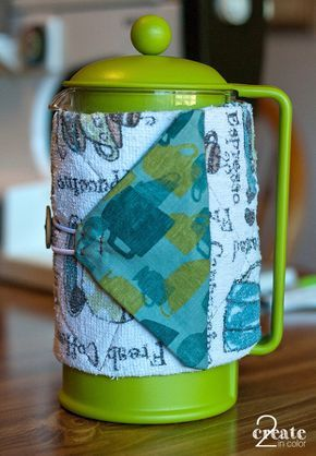 French Press Cozy, upcycled from a dishtowel and scrap fabric!