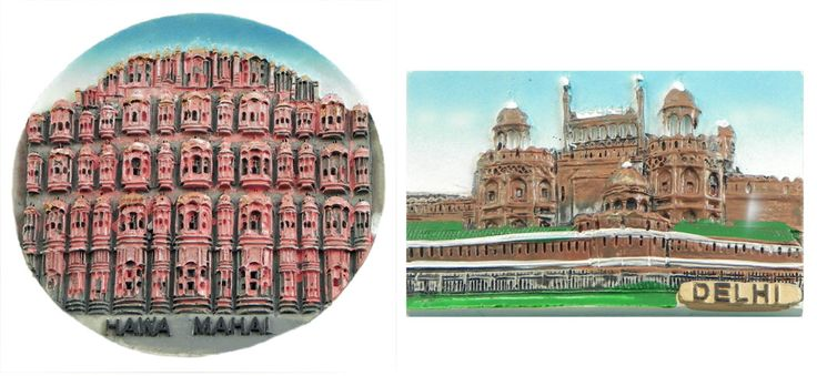 Hawa Mahal in Jaipur and Red Fort in Delhi - Set of Two Magnets (Poly Resin)