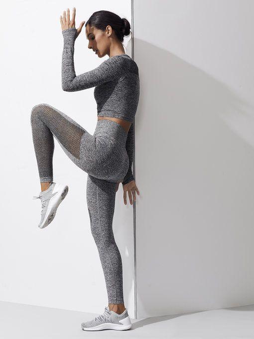 68a23c6d1b673 CARBON38 SEAMLESS Mesh Side Seamless Legging Heather Grey LEGGINGS