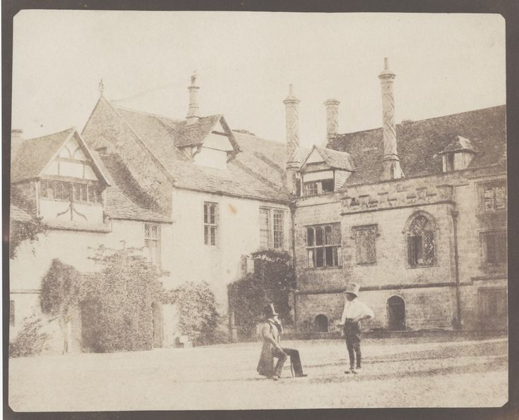 © William Henry Fox Talbot, Two Men in the North Courtyard, of Lacock Abbey, calotype negative and its salt print, 1841-1844, 15.9 x 20.0 cm