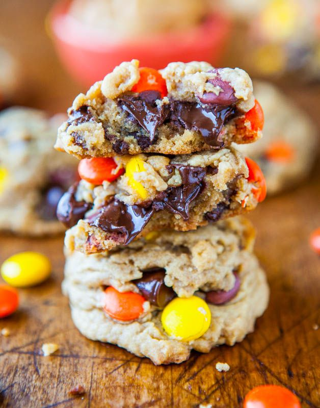 Reese's Pieces Soft Peanut Butter Cookies - Super soft, easy & loaded with melted chocolate chips & Reese's Pieces! - Recipe at averiecooks.com