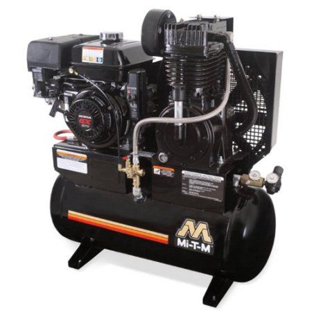 Mi-T-M AM2-SH09-20M Stationary Air Compressor- 20-Gallon, two stage, with gasoline 270cc Honda OHV engine, Black