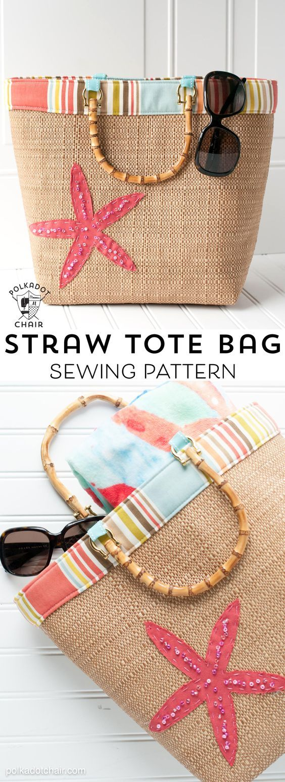 Free Sewing Pattern for a Straw Tote Bag - cute summer bag pattern!