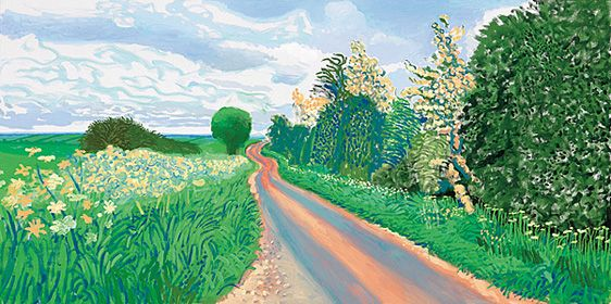 Early Blossom, Woldgate, 2009 oil on canvas 36 X 72""