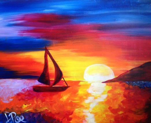 Sail away canvas painting
