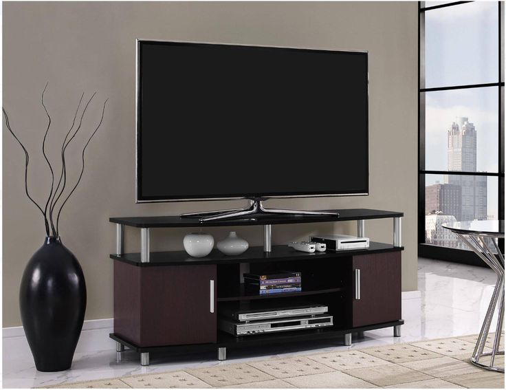 TV Stands For Flat Screens 46 - 55 Inch Entertainment Media Console Black/Cherry