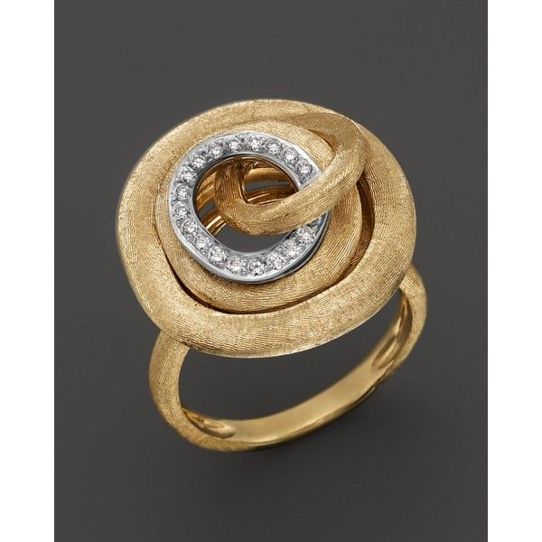 Marco Bicego Diamond Jaipur Link Cocktail Ring ($2,392) ❤ liked on Polyvore featuring jewelry, rings, accessories, anéis, anelli, 18k diamond ring, diamond jewelry, marco bicego jewelry, 18 karat gold jewelry and engraved jewelry