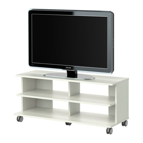 Benno tv unit with casters white ikea dimensions for Dimension meuble tv