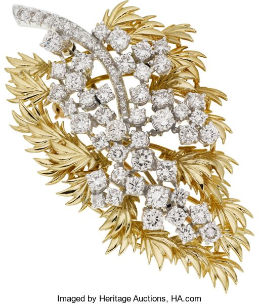 Estate Jewelry:Brooches - Pins, Diamond, Platinum, Gold Brooch. ...