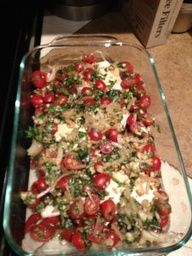 balsamic vinegar chicken with fresh tomatoes 4 skinless, boneless chicken breasts 4 5 garlic cloves 1 cup fresh basil 1 tablespoon olive oil 1 tsp. balsamic vinegar 1/4 cup water 1 cup sliced mushrooms 1 package of cherry or grape tomatoes 1/2 red onion sliced add mozzerella on top