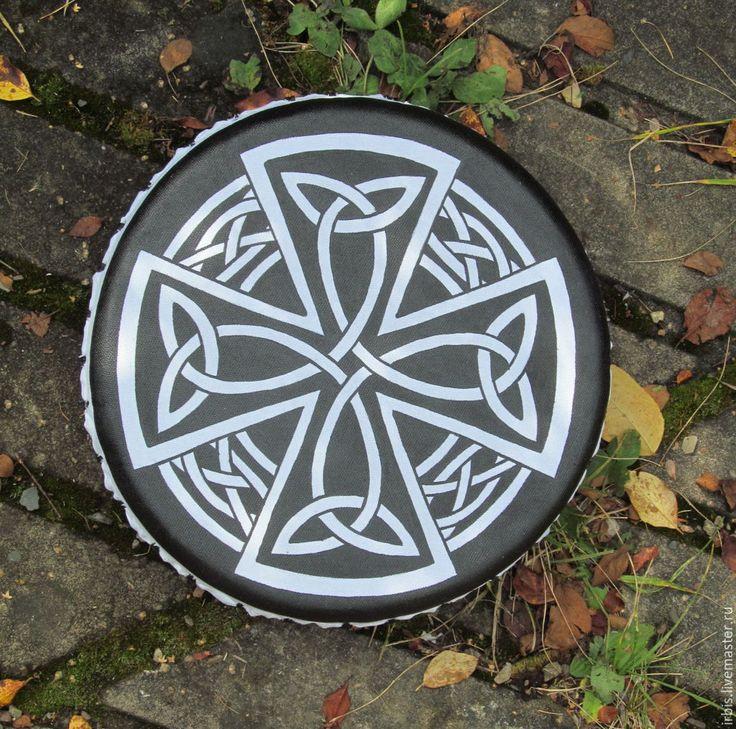 Купить Кельтский крест. Бубен ведический. - чёрно-белый, бубен ведический, шаманский бубен