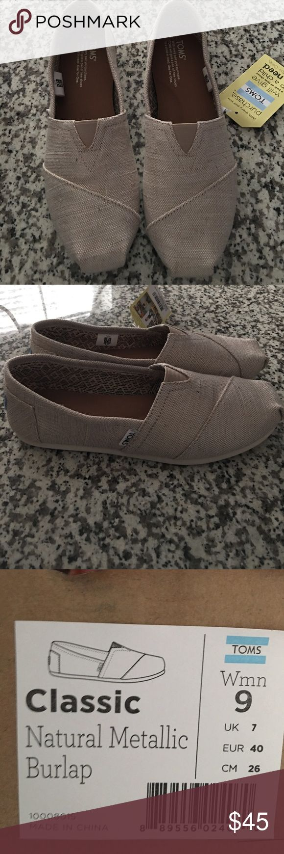 Toms NWT. Toms size 9  Natural metallic burlap Toms Shoes Flats & Loafers