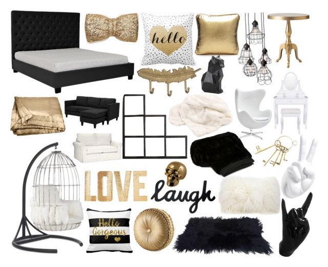 """""""Gold, black, white"""" by harmzilly on Polyvore featuring interior, interiors, interior design, home, home decor, interior decorating, PBteen, Mitchell Gold + Bob Williams, SCENERY and J. Queen New York"""