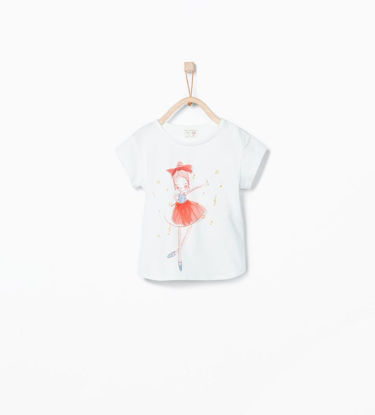 Image 1 of T-shirt with ballerina print and tulle skirt from Zara